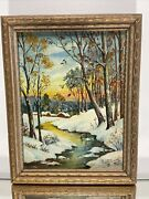 Vtg. Oil Painting Of Winter Landscape American Artist Blanche Paine