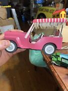 Vintage Sss Tin Pink Friction Jeep Surrey Made In Japan Very Good Condition
