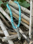 Navajo Natural Turquoise And Sterling Silver Tufa Cast Arrow Necklace