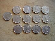 13 Coin Lot 1940-1976 Canada Five Cent Coins 5c Canadian Nickel Content Circ