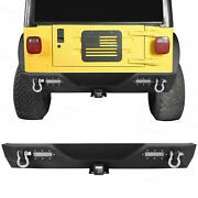 Rear Bumper W/led Light And 2 Receiver And D-ring Fit For 87-06 Jeep Wrangler Tj Yj