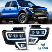 For 2009-14 Ford F150 Projector Headlights W/ Sequential Turn Signal Led Lamps