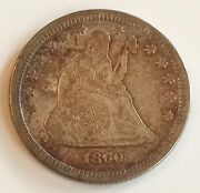 1860 Us Liberty Seated Silver Quarter Dollar 25c Low Survival Rate Estimate 900