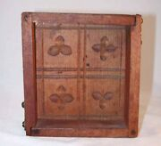 Antique Carved Wood Rectangular Box Butter Mold Two Dovetailed Corners And 2 Hooks