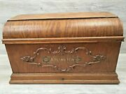 Vintage Arlington Treadle Sewing Machine Wood Coffin Cabinet Cover Chicago Il