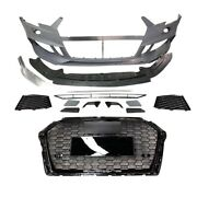For Audi A3/s3 8v5 Rs3 Style Aftermarket Front Bumper Cover Kit Quattro Grill