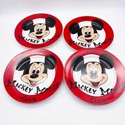 Vintage Disney Collector Plates Set Of 4 Red Mickey Mouse Club 1956