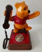 Vintage1976 Winnie The Pooh Bear Rotary Faux Wood Home Office Telephone