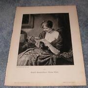 Antique Victorian Pretty Woman Flower Sewing Thimble Seamstress German Old Print
