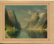 Vintage Blue Sky Swiss House Cottage Mountains Cliffs Old Card Lithograph Print