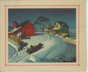 Vintage Farm House Red Barn Snow Horses Winter Old Picture Card Lithograph Print