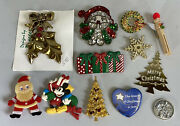 Vintage Christmas Holiday Lot Brooches Pins Ornaments Nativity Coin Mickey Mouse