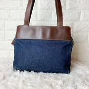 Shoulder Bag Blue Large Coco Mark Denim Leather Tote Cleaned Ladies Auth