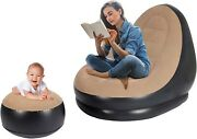 Inflatable Chair With Ottoman Blow Up Chaise Lounge Air Sofa Set Flocked Couch