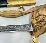 Post Ww2 1827 British Australian Navy Officers Etched Sword And Scabbard Wilkinson