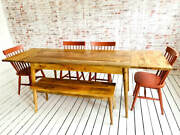 Mid-century Modern Extending Hardwood Dining Table Bench Spindle Chair Set