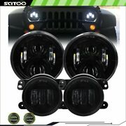 7and039and039 Projector Headlights And 4inch Led Fog Lights Fits Jeep Wrangler Jk/hummer H2