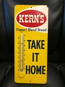 60's Vintage Antique Kerns Bread Bakery Roll Tin Non Porcelain Thermometer Sign