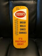 60and039s Vintage Antique Kerns Bread Bakery Roll Tin Non Porcelain Thermometer Sign