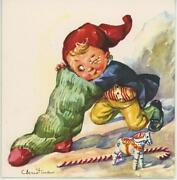 Vintage 1950's Elf Hat Child Christmas Stocking Toy Horse Candy Cane Card Print