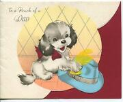 Vintage Beagle Puppy Dog Blue Menand039s Hat Rooster Weather Vane Greeting Card Print