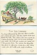 Vintage Old West Horse Cowboy Dog Flax Seed Lemonade Recipe Christmas Quilt Card