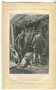 Antique Hound Dog Scent Mystery Woman Man Sabre Sword Wooden Shack House Print