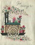 Vintage Tub Steam Boat Red Roses Presents Get Well Cheer Up Greeting Art Card
