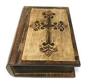 Decorative Wooden Box With Hinged Lid   Hand Carved Wooden Cross Design Bible