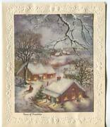 Vintage Christmas Village House Of Friendship Church Glitter Snow Embossed Card