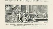 Antique Cute Children Studying World Globe Library Old Engraving Small Art Print