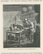Antique Man Reading A Book In His Library World Globe Bookcase Small Old Print
