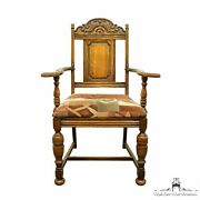Antique Vintage English Revival Gothic Jacobean Style Dining Arm Chair