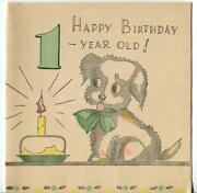Vintage Spaniel Puppy Dog Woodblock Primitive One Year Old Cake Candle Art Card