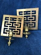 Set Vtg Mcm Brass Metal Wall Mounts Candle Holders Holyday Home Décor 7x9