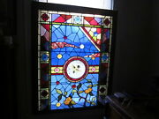 C.1890 Aesthetic Antique Stained Glass Window 16 Large Jewels And Roundels