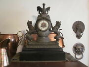 1 C.1880 Franco-prussian German Silver And Bronze Clock, Dragon, Lions