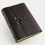 Ancicraft Leather Journal With Vintage Flower Vase Lock A5 Lined Paper Brown