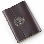 Ancicraft Leather Journal With Vintage Flower Vase Lock A5 Blank Craft Paper
