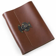 Ancicraft Refillable Leather Journal With Retro Flower Vase Lock A5 Blank Gift