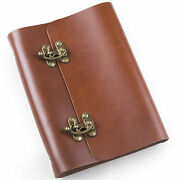 Ancicraft Refillable Leather Journal Notebook With Cool Lock A5 Blank Red Brown