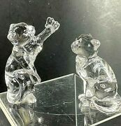 2 Lenox Fancy Cats Crystal Figurines Gentle Friends Cat And Daydreams Cat