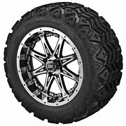 12 Revenge Blk/mch On 20x10-12 Black Trail Tires W/silver Inserts Set Of 4
