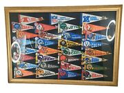 Vintage Nfl Mini Pendants Pins And Buttons Framed Extremly Rare Framed