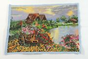 Completed Cross Stitch Hand Cottage By The Lake Unframed Finished 20.5x14