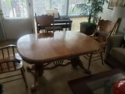 Antique Solid Oak Double-pedestal Amish Dining Table And 4 Chairs