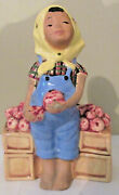 Vtg Mccarty Brothers Planter Girl Picking Apples Crates California Pottery 1947