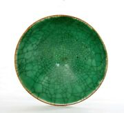 1930and039s Chinese Green Crackle Monochrome Ge Guan Type Glaze Porcelain Tea Bowl