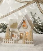 Ivory And Platinum 10 Christmas Village House With Arched Windows And Deer