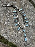 Stunning Navajo Golden Hill Turquoise Necklace By Kee J Signed